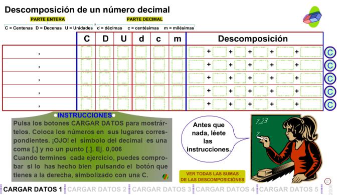 Descomposición de números decimales